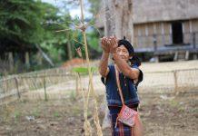 Già làng Hmunh thực hiện lễ cúng xin mưa thuận gió hòa, mùa màng bội thu. Ảnh: Chí Hào