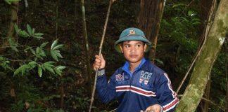 Anh Đinh Văn Sâm dẫn chúng tôi vào rừng săn tìm ốc quý