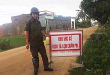 Chốt kiểm dịch Dịch tả lợn Châu Phi tại xã Ia Hiao, huyện Phú Thiện. Ảnh: C.H