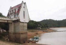 Mực nước Hồ chứa nước Ayun hạ còn rất thấp. Ảnh: Nguyễn Diệp