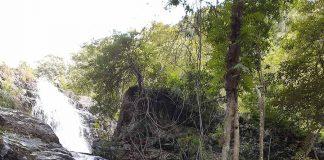 Thác Đak Hyam-một trong những điểm dừng chân nổi bật giữa rừng thông Hà Tam. Ảnh: T.M