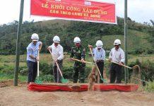 Sở Kế hoạch và Đầu tư tỉnh Gia Lai tổ chức lễ khởi công cầu treo qua khu sản xuất của người dân làng Hà Đừng 1 (huyện Kbang, Gia Lai). Ảnh: Ngọc Minh