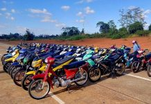 Hàng chục chiếc mô tô đã bị tạm giữ. Ảnh: Công an huyện Kbang