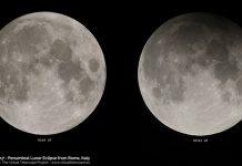 Nguyệt thực nửa tối năm 2017. Hình bên trái là Mặt Trăng tròn bình thường, hình bên phải là trăng lúc nguyệt thực nửa tối. Ảnh: Virtualtelescope.