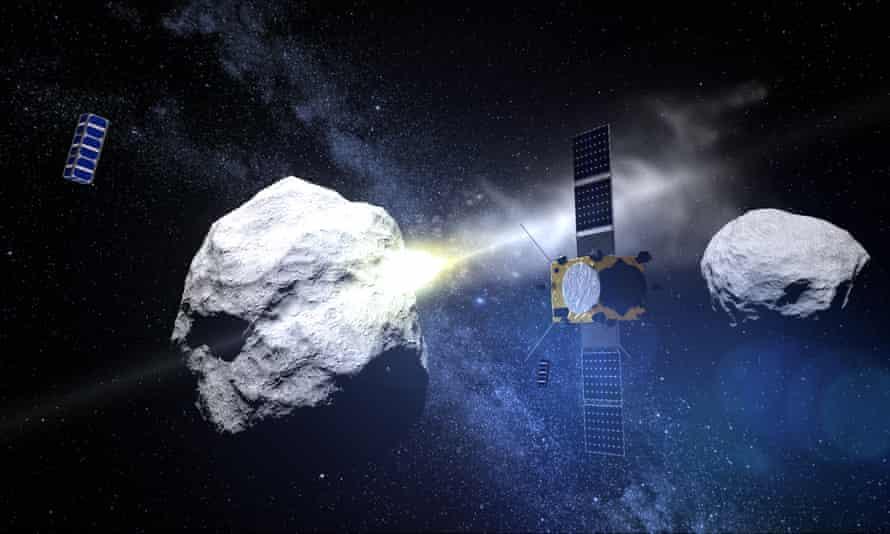 Hình ảnh đồ họa về vụ va chạm của sứ mệnh DART với hệ thống tiểu hành tinh đôi Didymos. Ảnh: Getty Images.