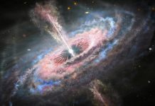 Hỉnh ảnh mô tả một thiên hà xa xôi với trái tim là một quasar