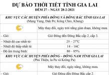 Dự báo thời tiết tỉnh Gia Lai ngày 28-2