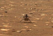 Trực thăng Ingenuity của NASA trên sao Hỏa ngày 7.4. Ảnh: NASA.