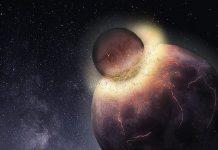 Một vật thể khổng lồ va chạm với trái đất được cho là nguyên nhân dẫn đến sự hình thành mặt trăng. Ảnh: Đại học Rice.