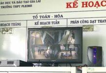 Hệ thống camera tại Trường THPT Pleime (huyện Chư Prông) đã hoàn thiện lắp đặt. Ảnh: Mộc Trà