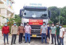 Hơn 11 tấn hàng được cán bộ và Nhân dân thị xã Ayun Pa ủng hộ người dân Phường 3 (Quận 6, TP.Hồ Chí Minh) khắc phục khó khăn do dịch Covid-19. Ảnh: Lê Đại