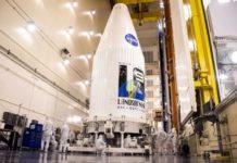 Vệ tinh Lansat 9 của NASA tại Căn cứ Lực lượng Không gian Vũ trụ Vandenberg ở California. Ảnh: NASA