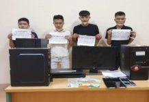 Các đối tượng (từ trái qua): Hùng, Vương, Phước, Toàn tại Cơ quan Điều tra Công an tỉnh (ảnh Công an tỉnh cung cấp).